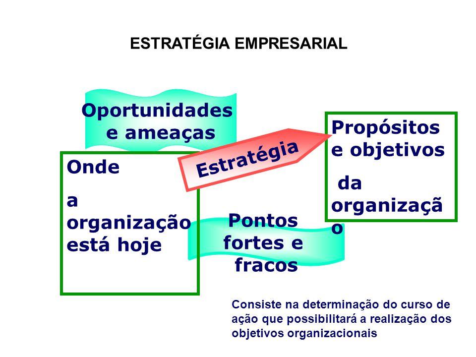ESTRATÉGIA EMPRESARIAL Pontos fortes e fracos Oportunidades e ameaças Onde a organização está hoje Propósitos e objetivos da organizaçã o Estratégia C