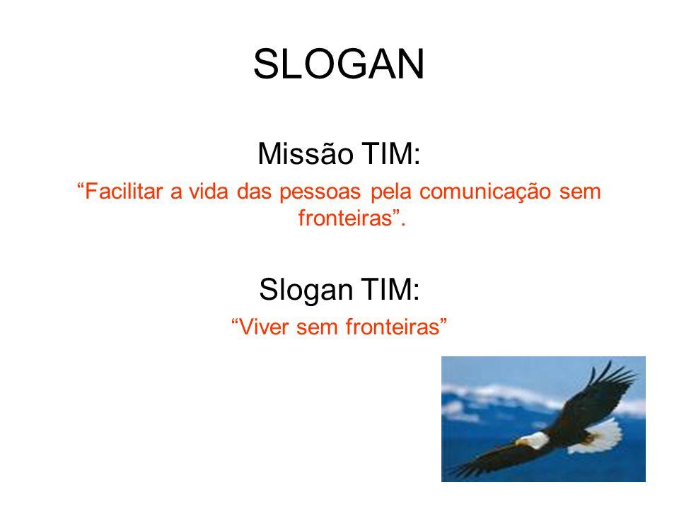 """SLOGAN Missão TIM: """"Facilitar a vida das pessoas pela comunicação sem fronteiras"""". Slogan TIM: """"Viver sem fronteiras"""""""