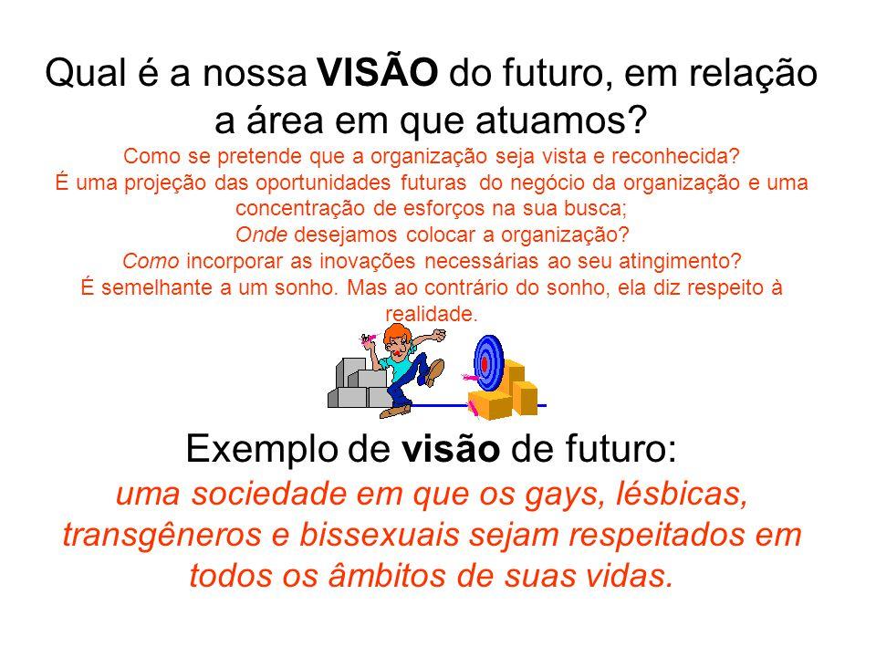 Qual é a nossa VISÃO do futuro, em relação a área em que atuamos? Como se pretende que a organização seja vista e reconhecida? É uma projeção das opor