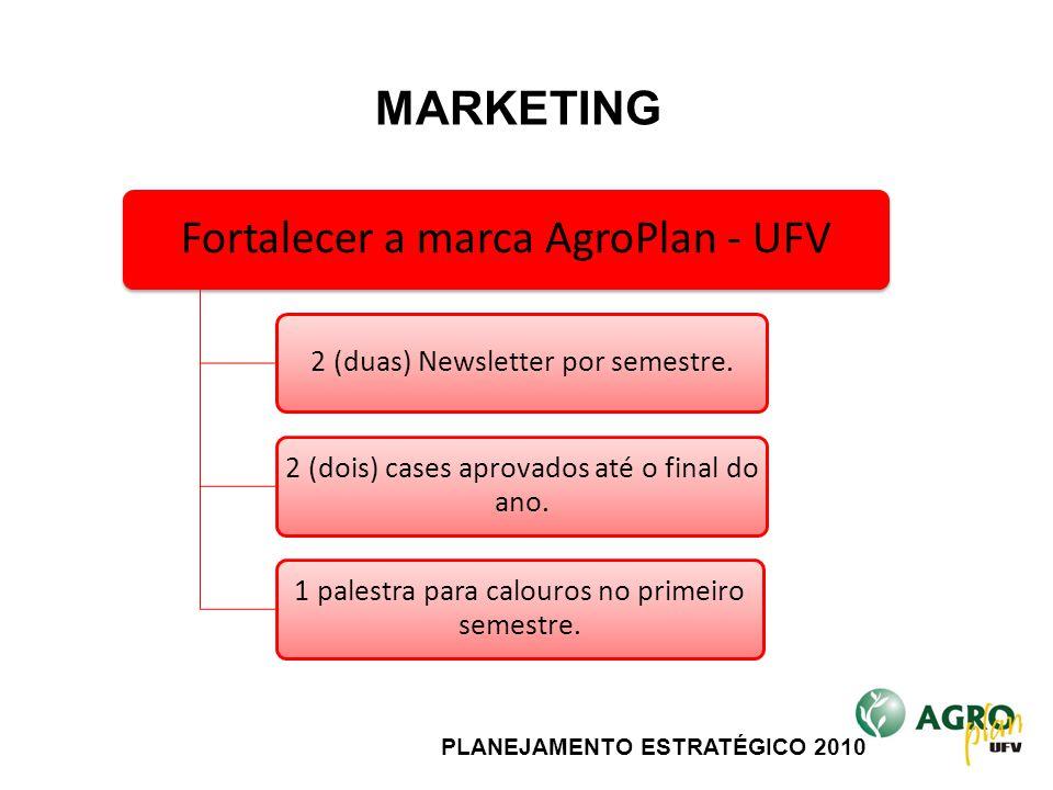 PLANEJAMENTO ESTRATÉGICO 2010 Fortalecer a marca AgroPlan - UFV 2 (duas) Newsletter por semestre. 2 (dois) cases aprovados até o final do ano. 1 pales