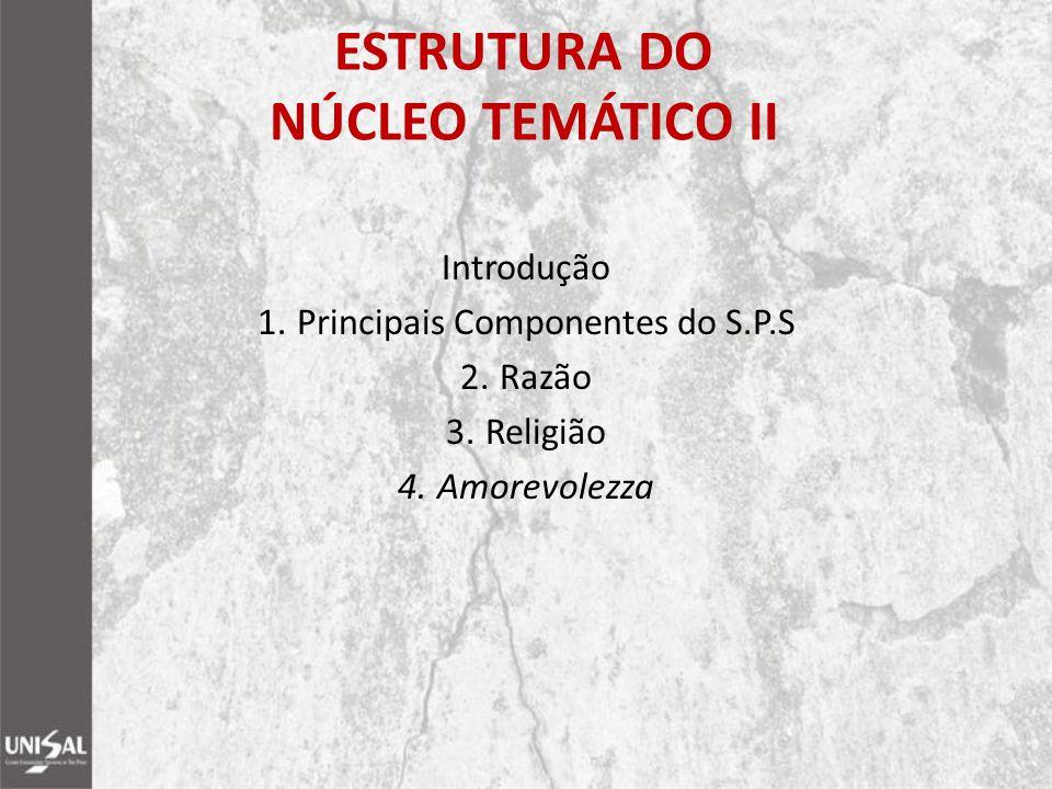 ESTRUTURA DO NÚCLEO TEMÁTICO II Introdução 1.Principais Componentes do S.P.S 2.Razão 3.Religião 4.Amorevolezza