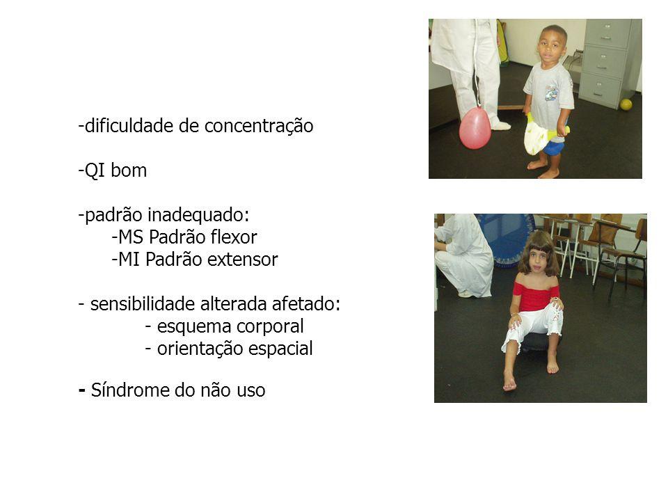 -dificuldade de concentração -QI bom -padrão inadequado: -MS Padrão flexor -MI Padrão extensor - sensibilidade alterada afetado: - esquema corporal -