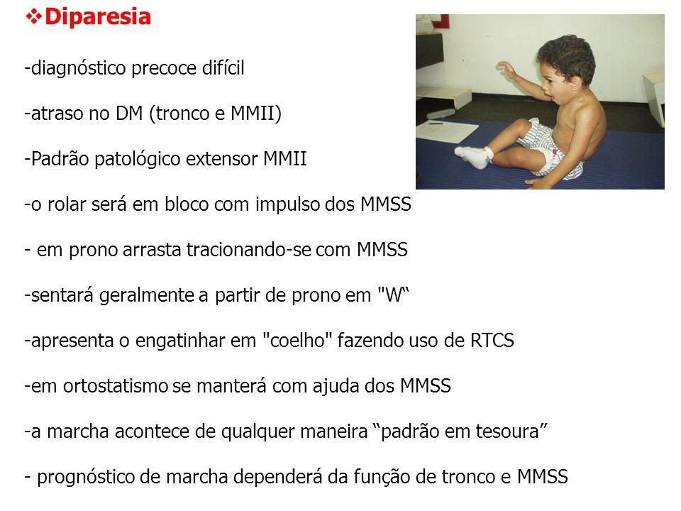  Diparesia -diagnóstico precoce difícil -atraso no DM (tronco e MMII) -Padrão patológico extensor MMII -o rolar será em bloco com impulso dos MMSS -