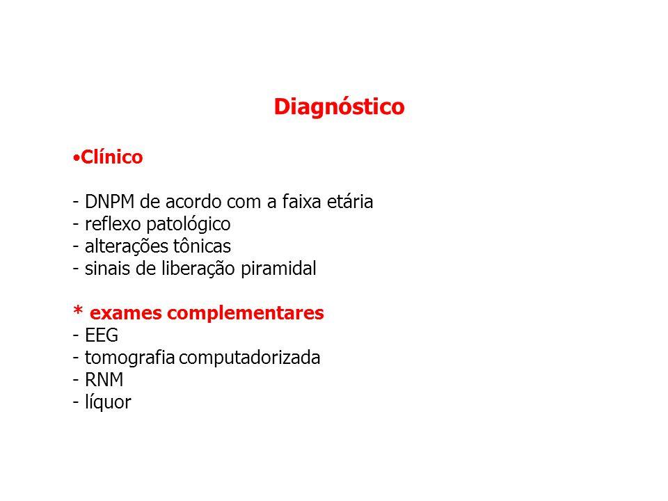 Diagnóstico Clínico - DNPM de acordo com a faixa etária - reflexo patológico - alterações tônicas - sinais de liberação piramidal * exames complementa