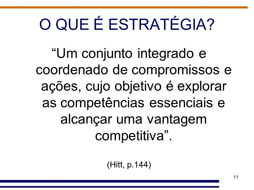 """11 O QUE É ESTRATÉGIA? """"Um conjunto integrado e coordenado de compromissos e ações, cujo objetivo é explorar as competências essenciais e alcançar uma"""