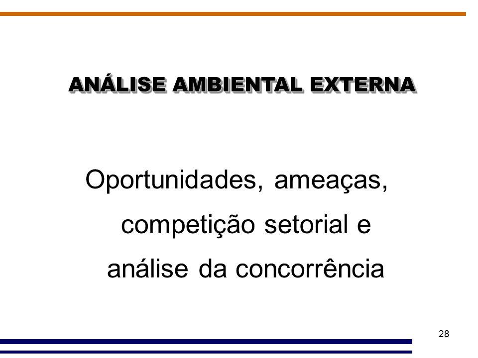 28 ANÁLISE AMBIENTAL EXTERNA Oportunidades, ameaças, competição setorial e análise da concorrência