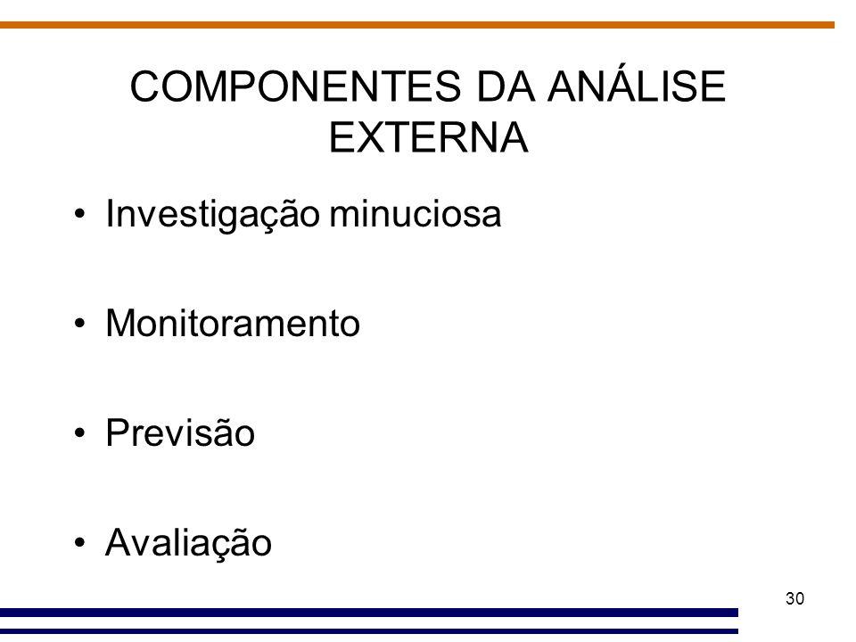 30 COMPONENTES DA ANÁLISE EXTERNA Investigação minuciosa Monitoramento Previsão Avaliação