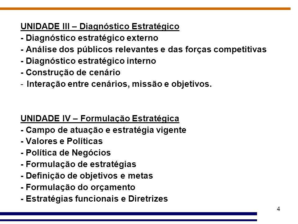 4 UNIDADE III – Diagnóstico Estratégico - Diagnóstico estratégico externo - Análise dos públicos relevantes e das forças competitivas - Diagnóstico es