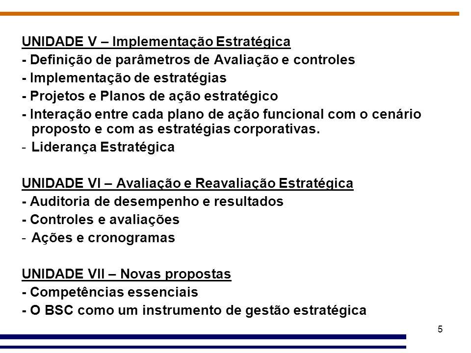 5 UNIDADE V – Implementação Estratégica - Definição de parâmetros de Avaliação e controles - Implementação de estratégias - Projetos e Planos de ação