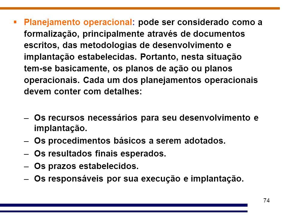 74  Planejamento operacional: pode ser considerado como a formalização, principalmente através de documentos escritos, das metodologias de desenvolvi