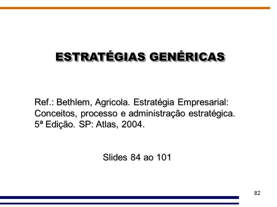 82 ESTRATÉGIAS GENÉRICAS Ref.: Bethlem, Agricola. Estratégia Empresarial: Conceitos, processo e administração estratégica. 5ª Edição. SP: Atlas, 2004.