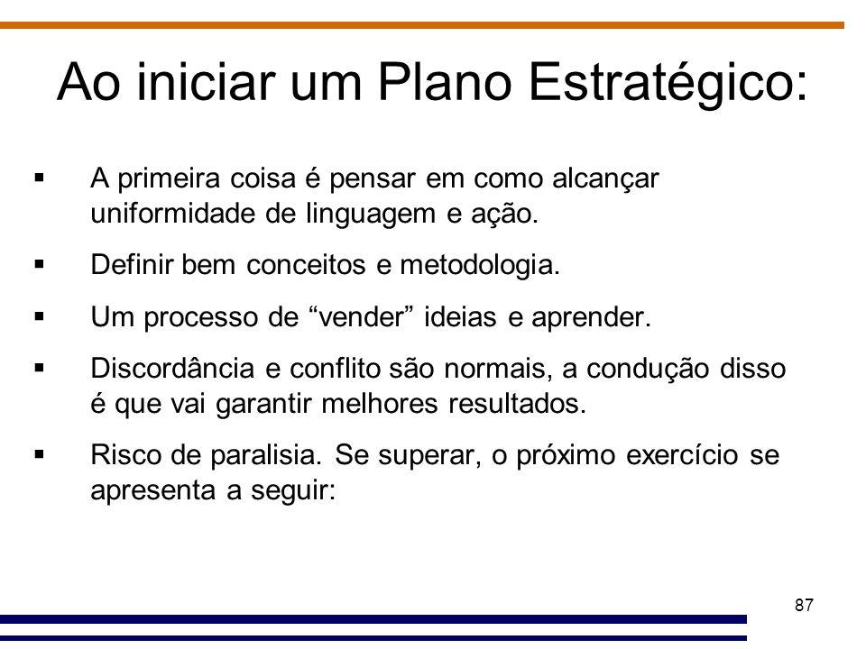 87 Ao iniciar um Plano Estratégico:  A primeira coisa é pensar em como alcançar uniformidade de linguagem e ação.  Definir bem conceitos e metodolog