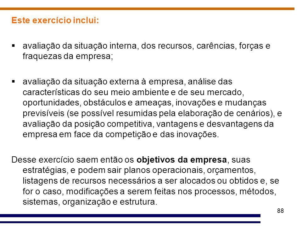 88 Este exercício inclui:  avaliação da situação interna, dos recursos, carências, forças e fraquezas da empresa;  avaliação da situação externa à e