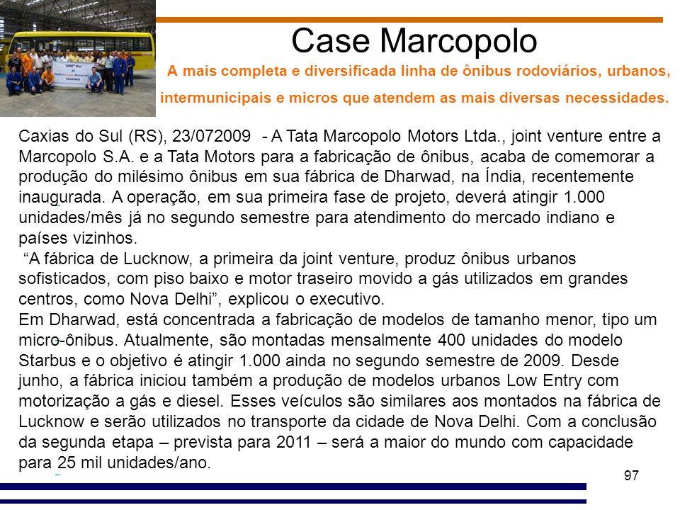 97 Case Marcopolo A mais completa e diversificada linha de ônibus rodoviários, urbanos, intermunicipais e micros que atendem as mais diversas necessid