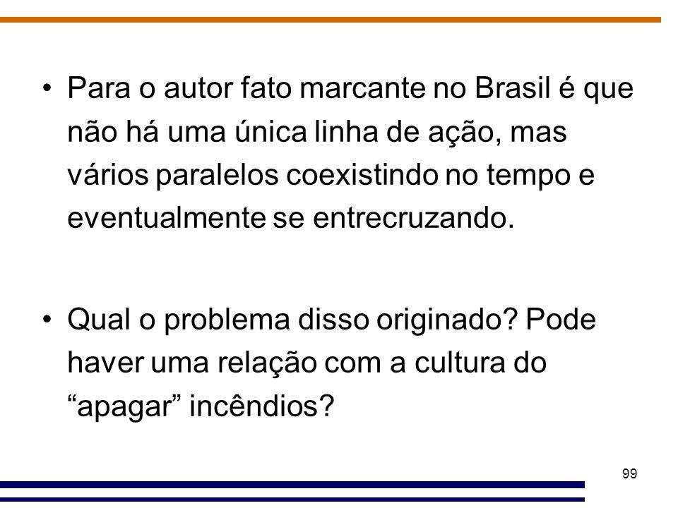 99 Para o autor fato marcante no Brasil é que não há uma única linha de ação, mas vários paralelos coexistindo no tempo e eventualmente se entrecruzan