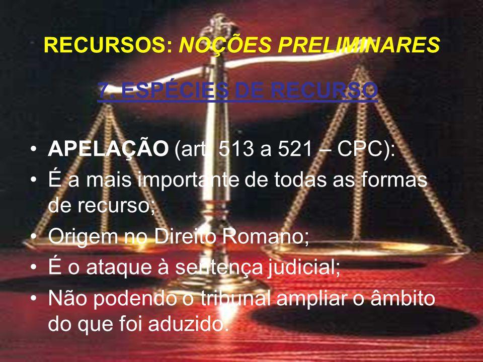 7. ESPÉCIES DE RECURSO APELAÇÃO (art.