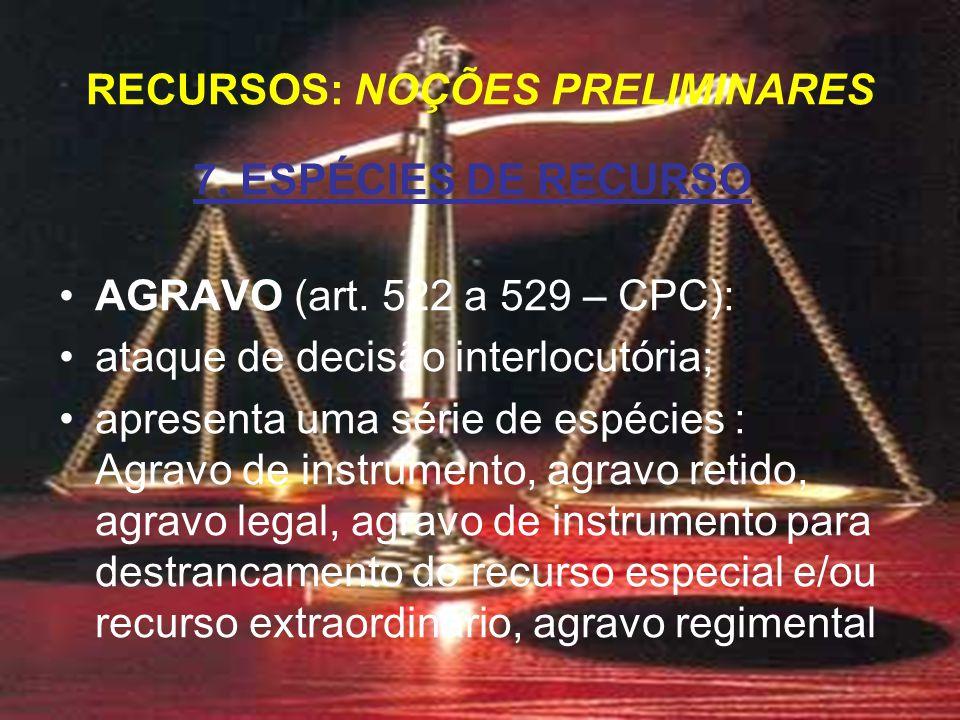 7. ESPÉCIES DE RECURSO AGRAVO (art.