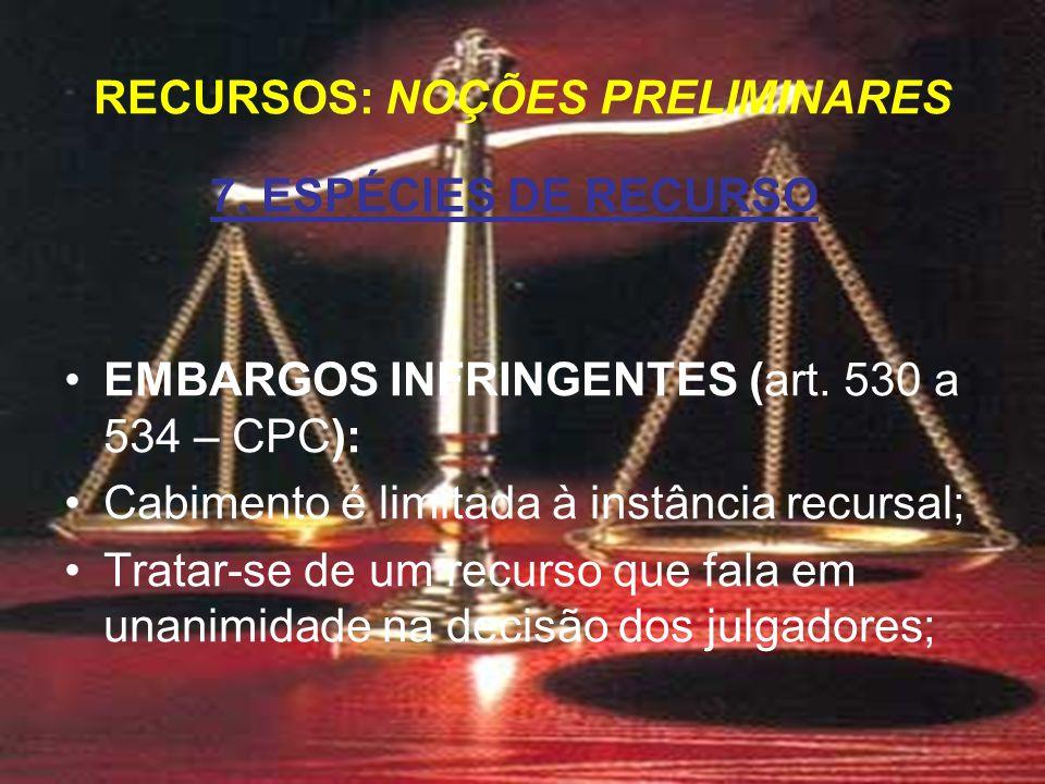 7. ESPÉCIES DE RECURSO EMBARGOS INFRINGENTES (art.