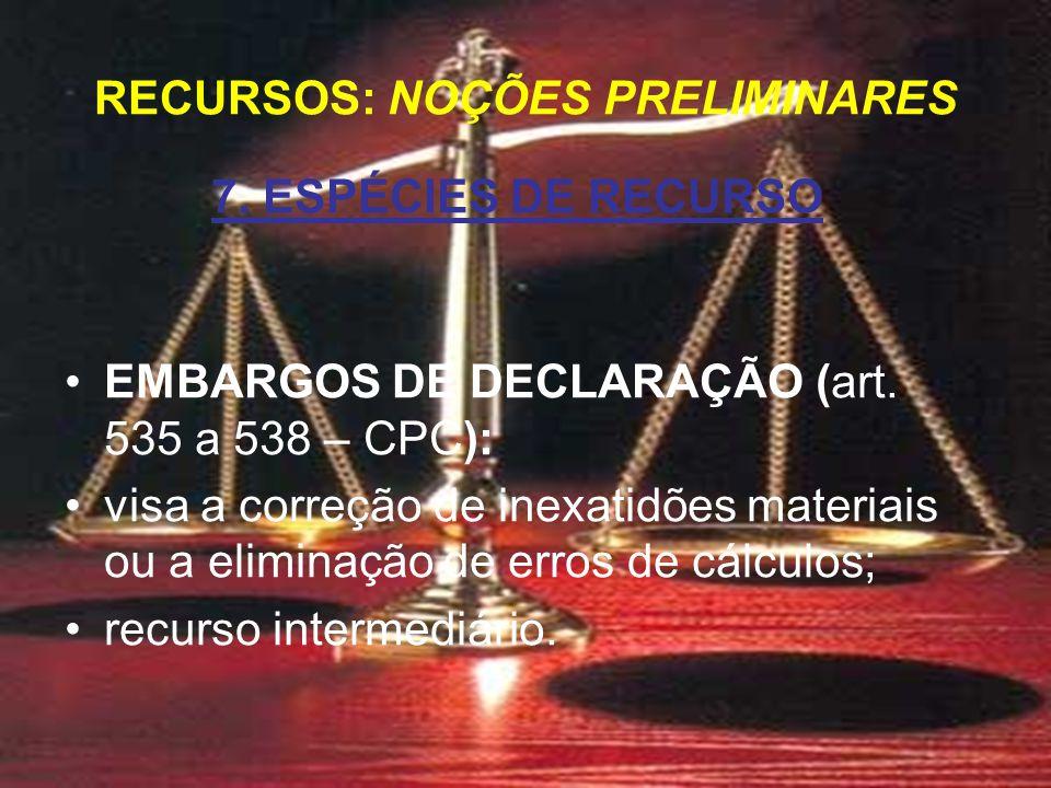 7. ESPÉCIES DE RECURSO EMBARGOS DE DECLARAÇÃO (art.