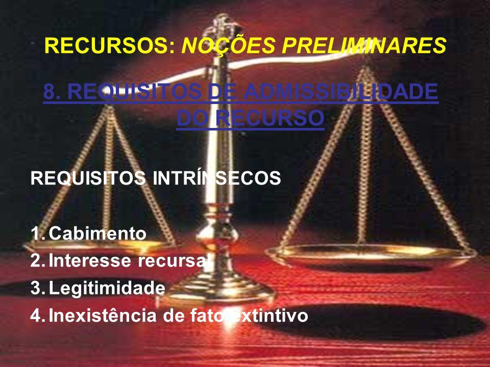 8. REQUISITOS DE ADMISSIBILIDADE DO RECURSO REQUISITOS INTRÍNSECOS 1.Cabimento 2.Interesse recursal 3.Legitimidade 4.Inexistência de fato extintivo RE