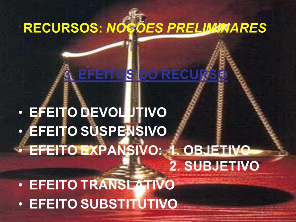 3. EFEITOS DO RECURSO EFEITO DEVOLUTIVO EFEITO SUSPENSIVO EFEITO EXPANSIVO: 1.