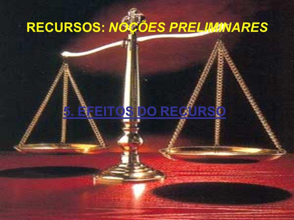 5. EFEITOS DO RECURSO RECURSOS: NOÇÕES PRELIMINARES