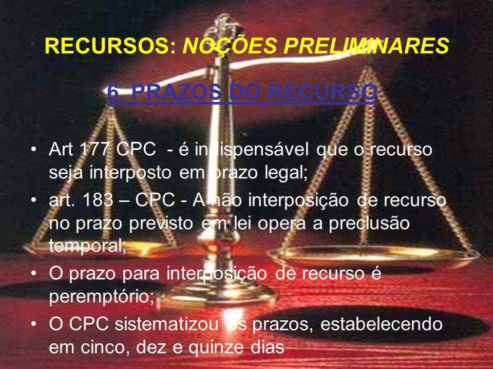 6. PRAZOS DO RECURSO Art 177 CPC - é indispensável que o recurso seja interposto em prazo legal; art. 183 – CPC - A não interposição de recurso no pra