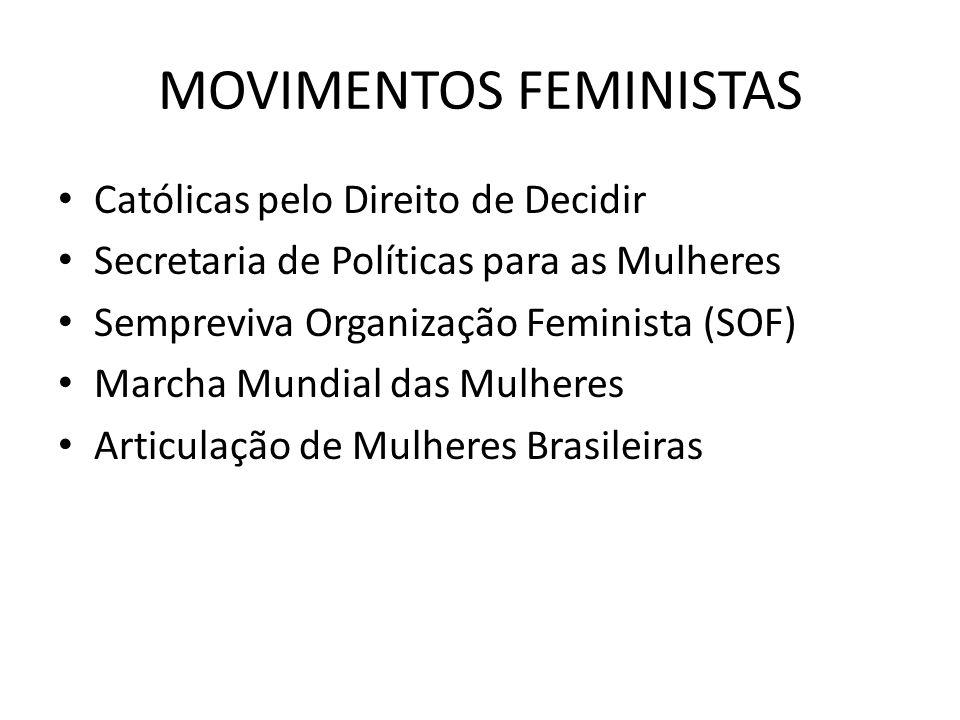 MOVIMENTOS FEMINISTAS Católicas pelo Direito de Decidir Secretaria de Políticas para as Mulheres Sempreviva Organização Feminista (SOF) Marcha Mundial das Mulheres Articulação de Mulheres Brasileiras