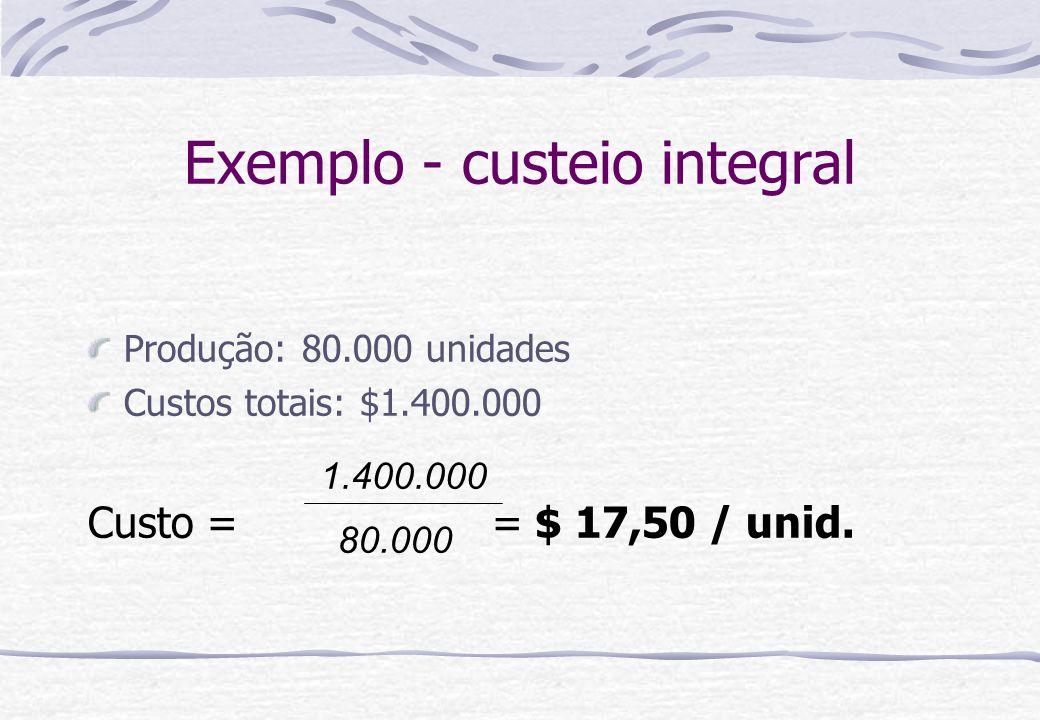 Exemplo - custeio integral Produção: 80.000 unidades Custos totais: $1.400.000 Custo = = $ 17,50 / unid. 1.400.000 80.000