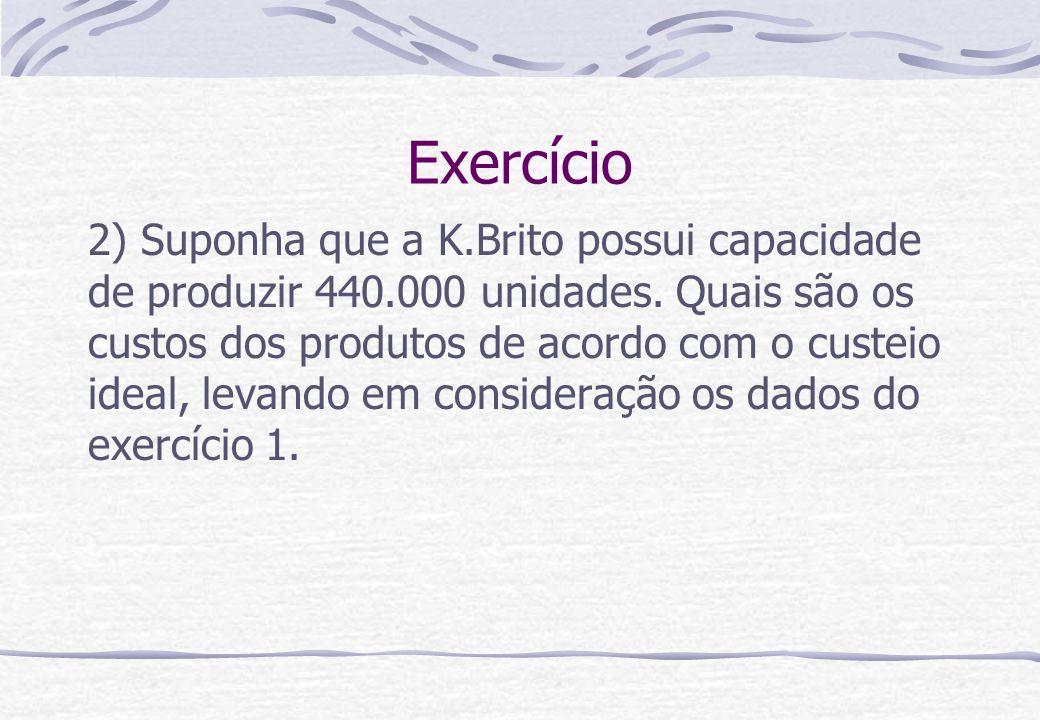 Exercício 2) Suponha que a K.Brito possui capacidade de produzir 440.000 unidades. Quais são os custos dos produtos de acordo com o custeio ideal, lev