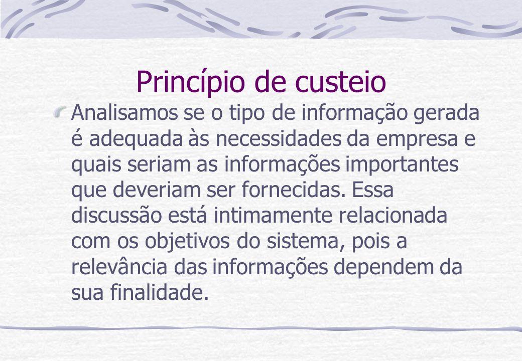 Princípio de custeio Analisamos se o tipo de informação gerada é adequada às necessidades da empresa e quais seriam as informações importantes que dev