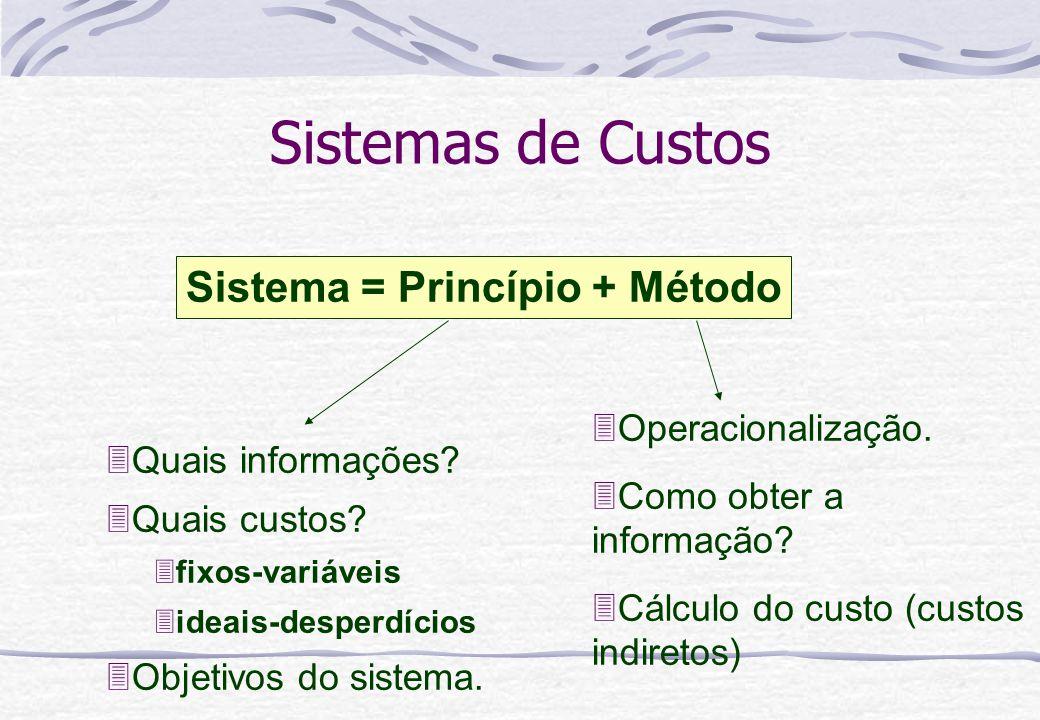Sistemas de Custos Sistema = Princípio + Método 3Custeio variável 3Custeio por absorção integral 3Custeio por absorção ideal 3Custo padrão 3RKW 3ABC 3UEP 3etc