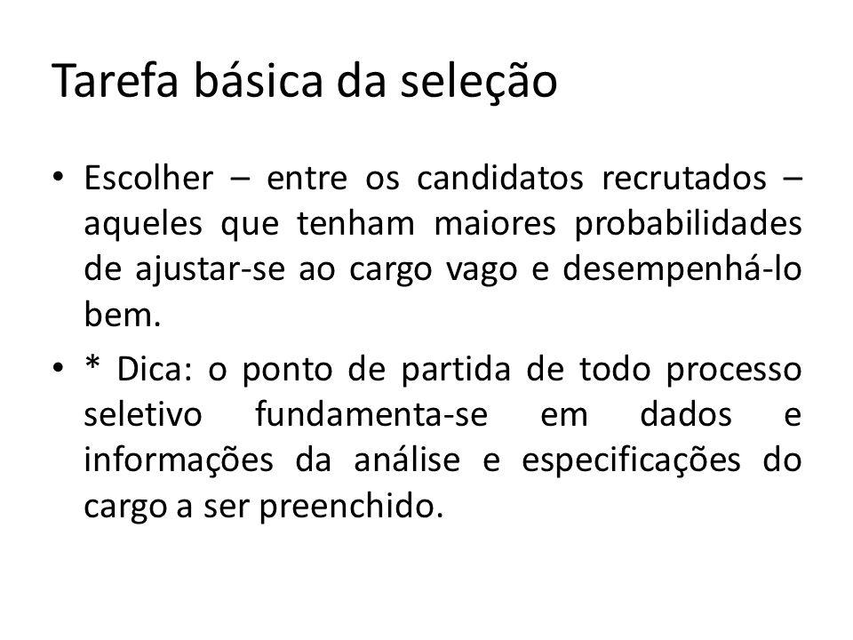 Tarefa básica da seleção Escolher – entre os candidatos recrutados – aqueles que tenham maiores probabilidades de ajustar-se ao cargo vago e desempenh