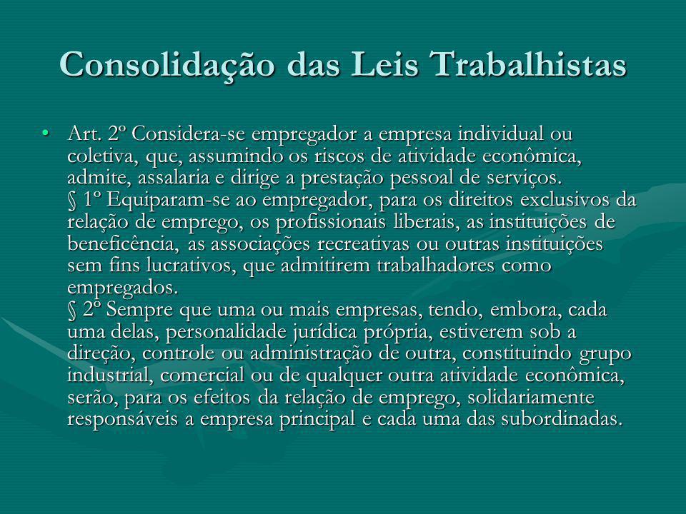 Consolidação das Leis Trabalhistas Art. 2º Considera-se empregador a empresa individual ou coletiva, que, assumindo os riscos de atividade econômica,