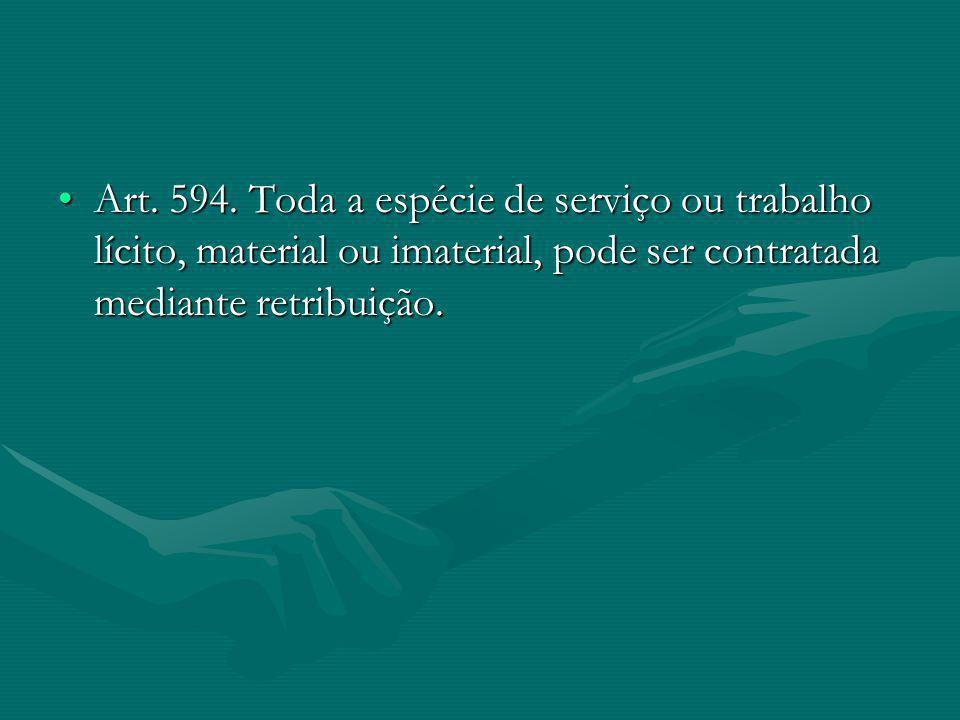 Art. 594. Toda a espécie de serviço ou trabalho lícito, material ou imaterial, pode ser contratada mediante retribuição.Art. 594. Toda a espécie de se