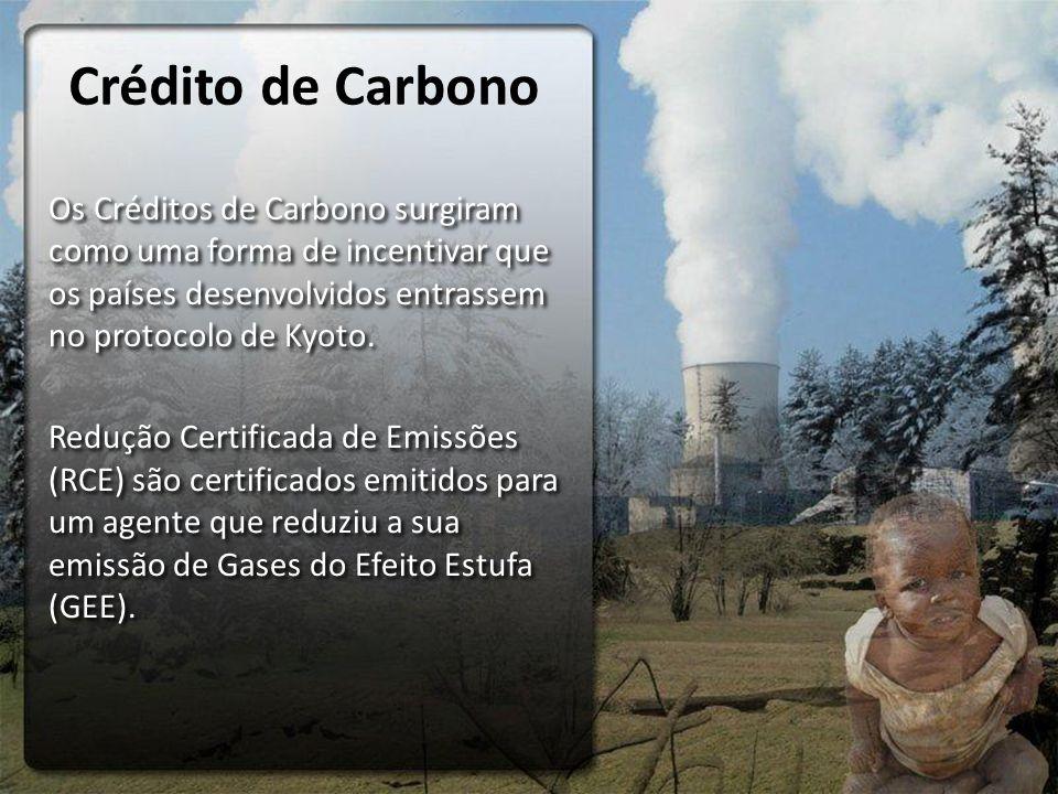 Crédito de Carbono Os Créditos de Carbono surgiram como uma forma de incentivar que os países desenvolvidos entrassem no protocolo de Kyoto. Redução C