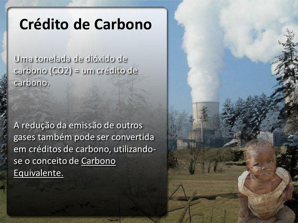 Crédito de Carbono Uma tonelada de dióxido de carbono (CO2) = um crédito de carbono. A redução da emissão de outros gases também pode ser convertida e