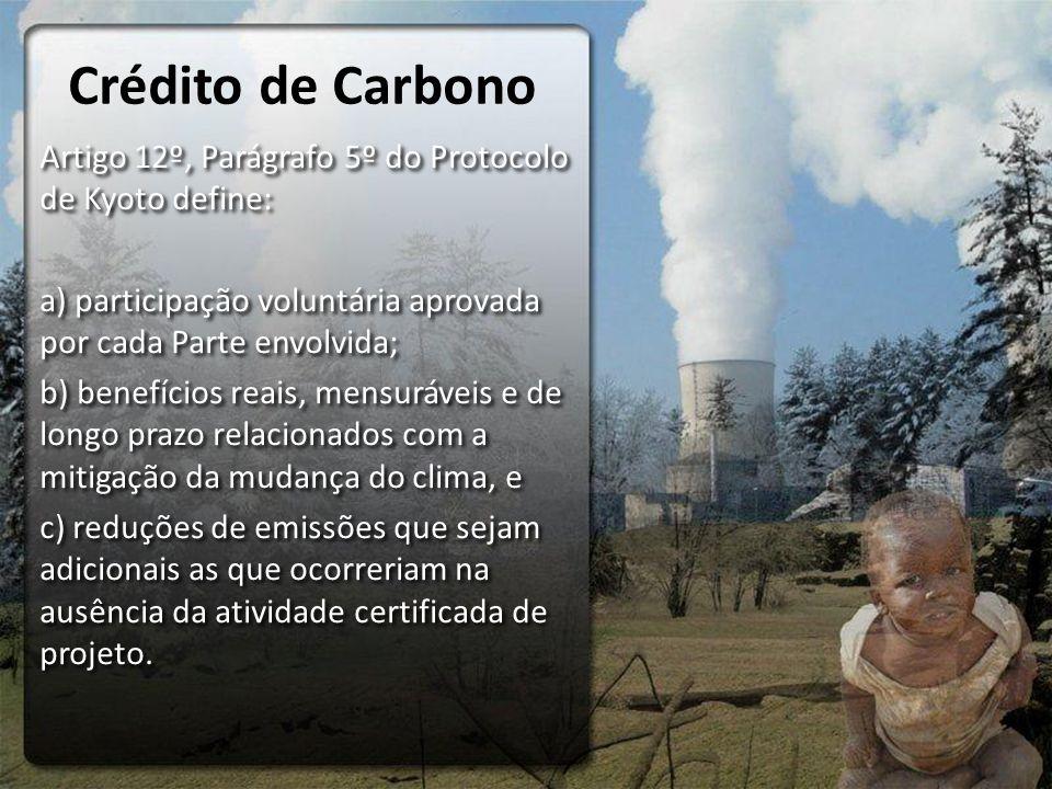Crédito de Carbono Artigo 12º, Parágrafo 5º do Protocolo de Kyoto define: a) participação voluntária aprovada por cada Parte envolvida; b) benefícios reais, mensuráveis e de longo prazo relacionados com a mitigação da mudança do clima, e c) reduções de emissões que sejam adicionais as que ocorreriam na ausência da atividade certificada de projeto.