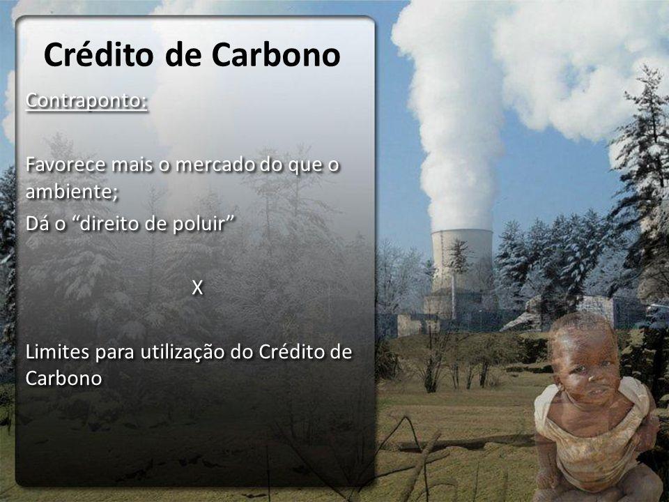Crédito de Carbono Contraponto: Favorece mais o mercado do que o ambiente; Dá o direito de poluir X Limites para utilização do Crédito de Carbono Contraponto: Favorece mais o mercado do que o ambiente; Dá o direito de poluir X Limites para utilização do Crédito de Carbono