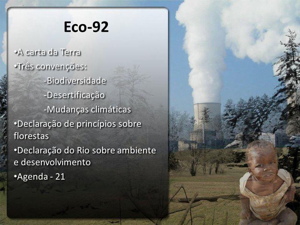 A carta da Terra Três convenções: -Biodiversidade -Desertificação -Mudanças climáticas Declaração de princípios sobre florestas Declaração do Rio sobre ambiente e desenvolvimento Agenda - 21 A carta da Terra Três convenções: -Biodiversidade -Desertificação -Mudanças climáticas Declaração de princípios sobre florestas Declaração do Rio sobre ambiente e desenvolvimento Agenda - 21