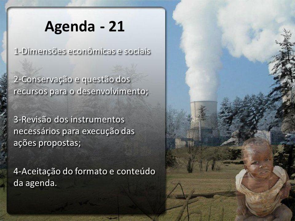 1-Dimensões econômicas e sociais 2-Conservação e questão dos recursos para o desenvolvimento; 3-Revisão dos instrumentos necessários para execução das