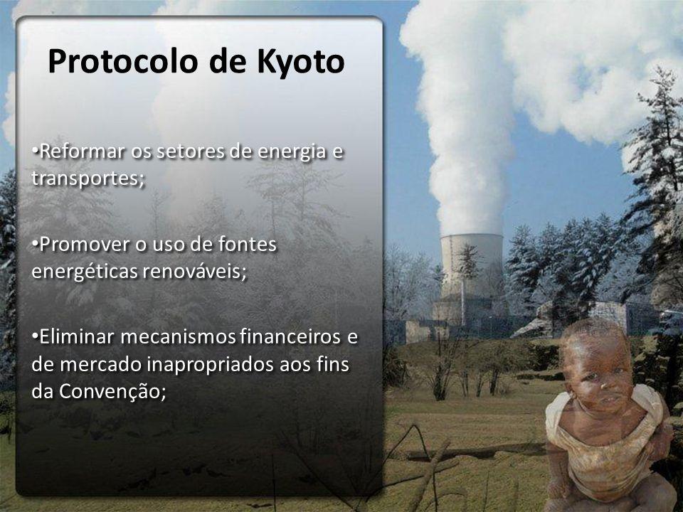 Protocolo de Kyoto Reformar os setores de energia e transportes; Promover o uso de fontes energéticas renováveis; Eliminar mecanismos financeiros e de mercado inapropriados aos fins da Convenção; Reformar os setores de energia e transportes; Promover o uso de fontes energéticas renováveis; Eliminar mecanismos financeiros e de mercado inapropriados aos fins da Convenção;