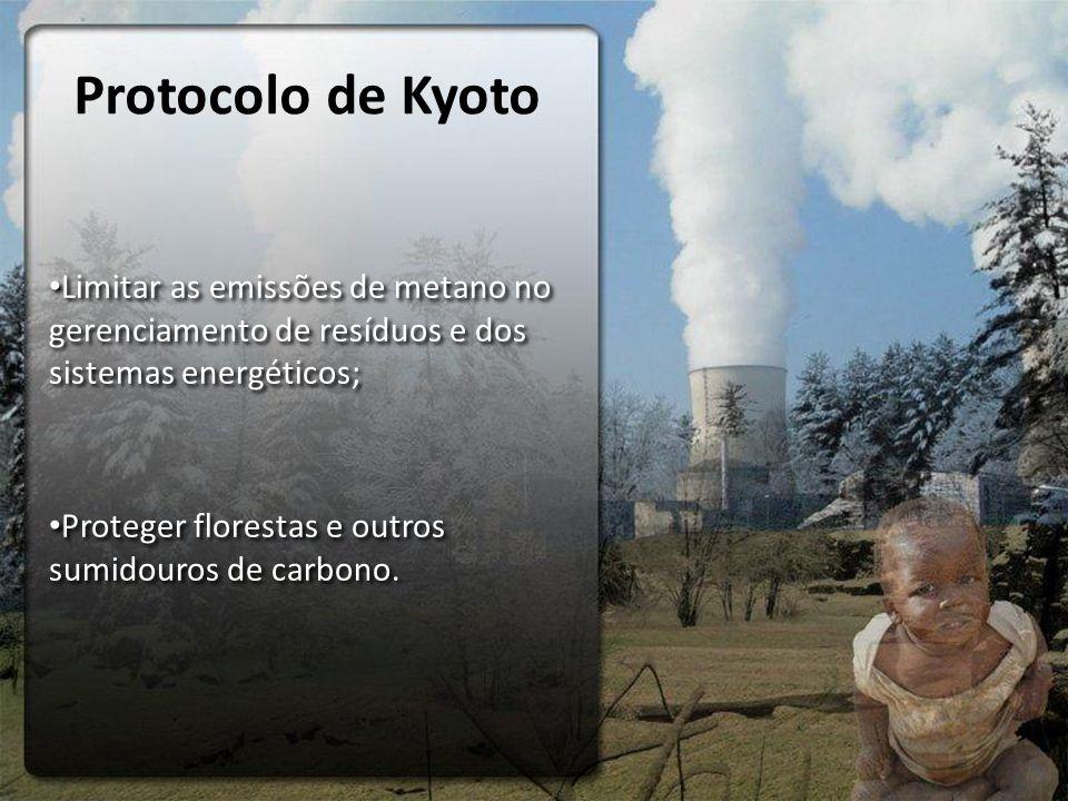 Protocolo de Kyoto Limitar as emissões de metano no gerenciamento de resíduos e dos sistemas energéticos; Proteger florestas e outros sumidouros de carbono.