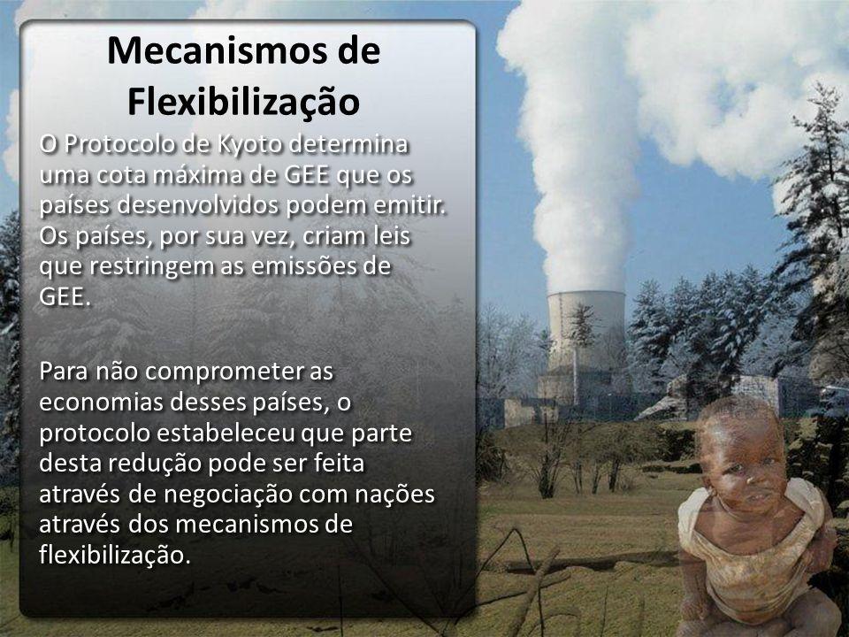 Mecanismos de Flexibilização O Protocolo de Kyoto determina uma cota máxima de GEE que os países desenvolvidos podem emitir. Os países, por sua vez, c