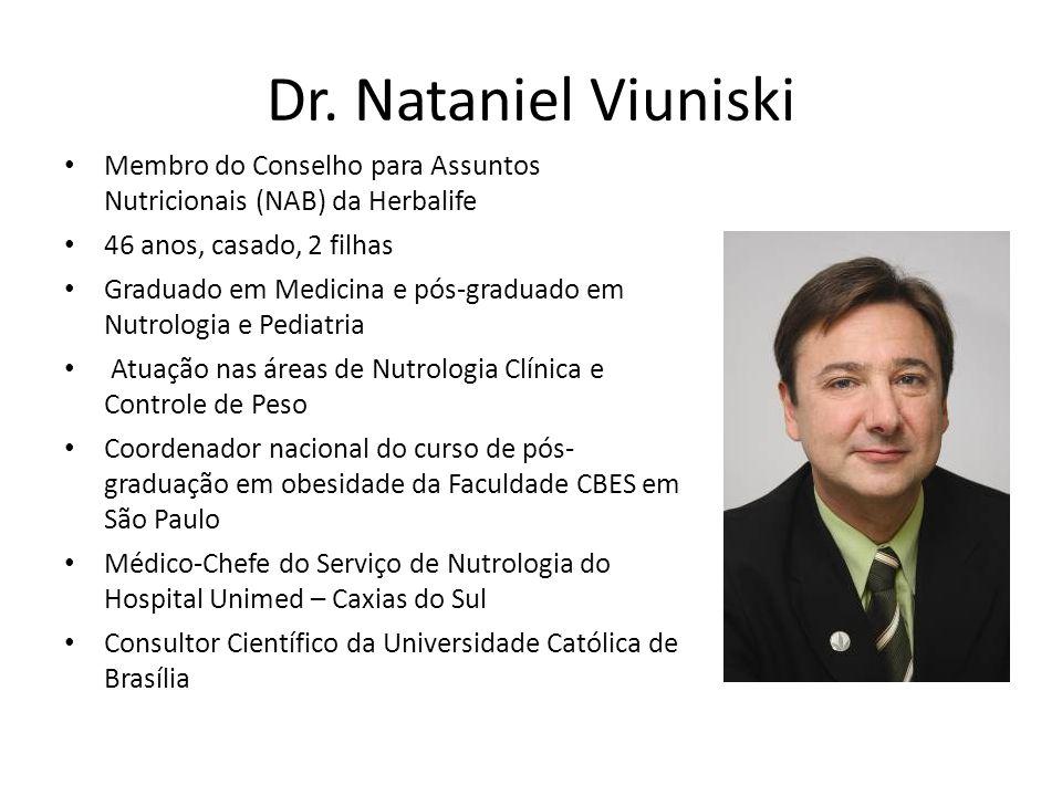 Dr. Nataniel Viuniski Membro do Conselho para Assuntos Nutricionais (NAB) da Herbalife 46 anos, casado, 2 filhas Graduado em Medicina e pós-graduado e