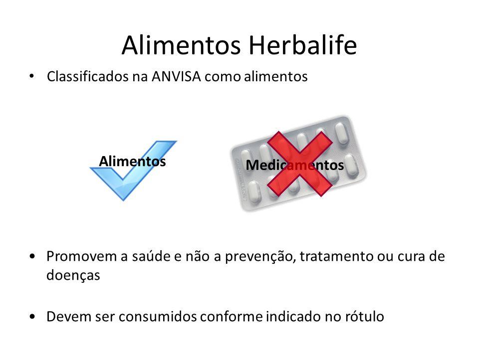 Alimentos Herbalife Classificados na ANVISA como alimentos Promovem a saúde e não a prevenção, tratamento ou cura de doenças Devem ser consumidos conforme indicado no rótulo Alimentos Medicamentos