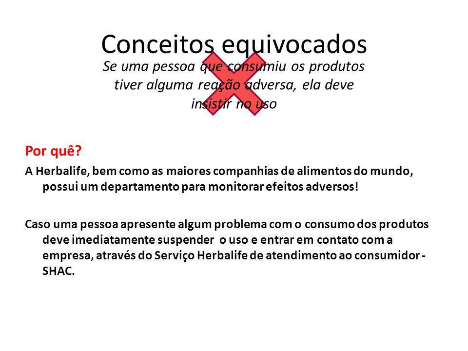 Conceitos equivocados Se uma pessoa que consumiu os produtos tiver alguma reação adversa, ela deve insistir no uso Por quê.