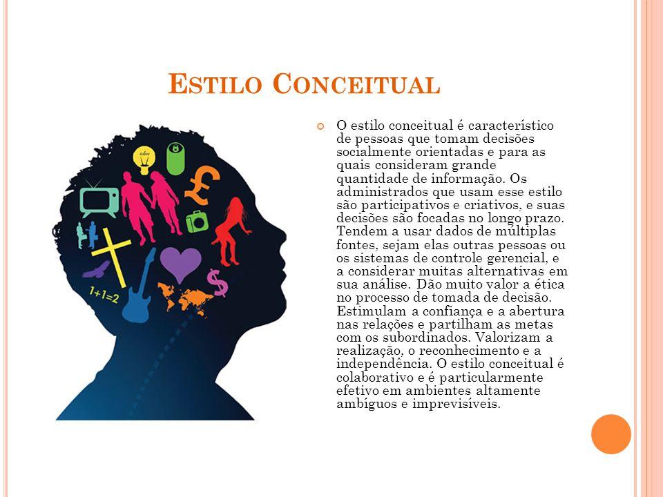 E STILO C ONCEITUAL O estilo conceitual é característico de pessoas que tomam decisões socialmente orientadas e para as quais consideram grande quantidade de informação.