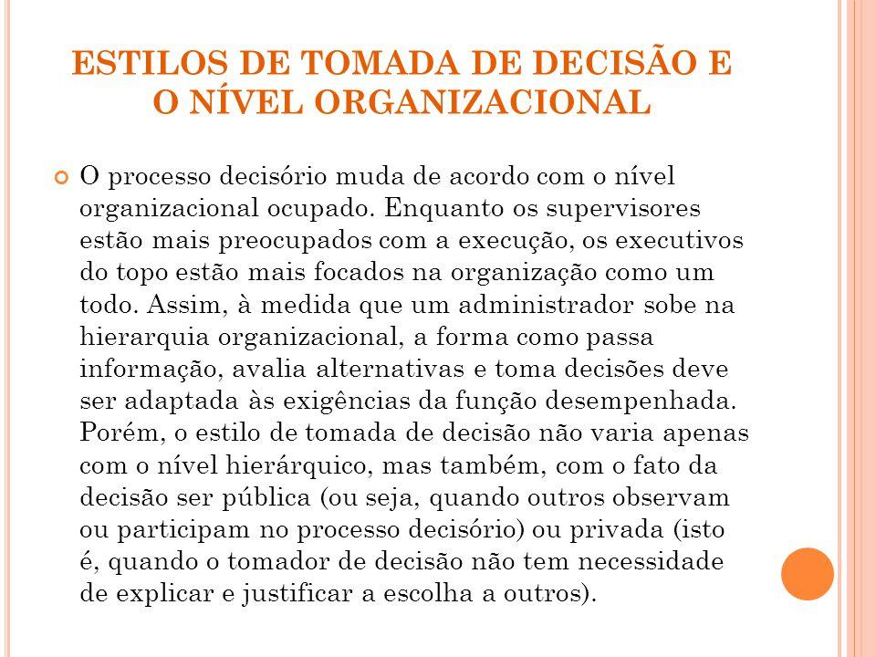ESTILOS DE TOMADA DE DECISÃO E O NÍVEL ORGANIZACIONAL O processo decisório muda de acordo com o nível organizacional ocupado.