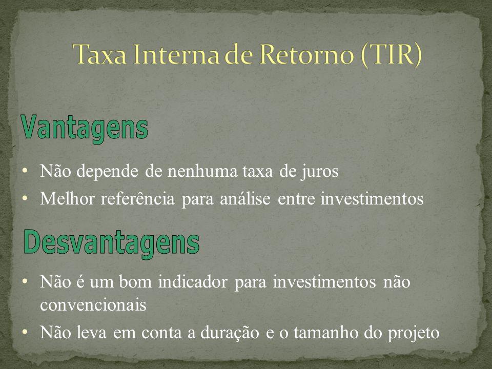 Se TIR > 0 – Investimento Satisfatório Se TIR < 0 – Investimento Insatisfatório Se TIR = 0 – Economicamente Indiferente Se TIR > k – Investimento Satisfatório Se TIR < k – Investimento Insatisfatório Se TIR = k – Economicamente Indiferente k – Custo de Capital